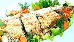 Фарширована гречкою і грибами риба.