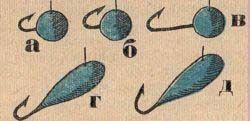 Розташування гачків в тілі мормишок.