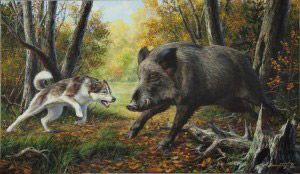 На картині зображена сцена полювання на кабана з використанням лайок