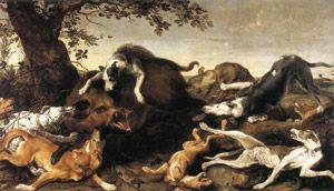 На картині зображена сцена полювання на кабана з використанням собак